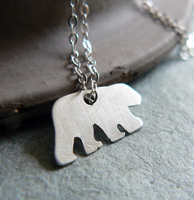handmade sterling silver bear necklace