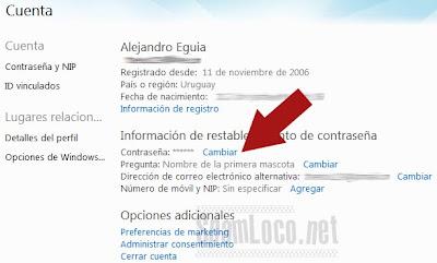 cambiar contrasena de hotmail com: