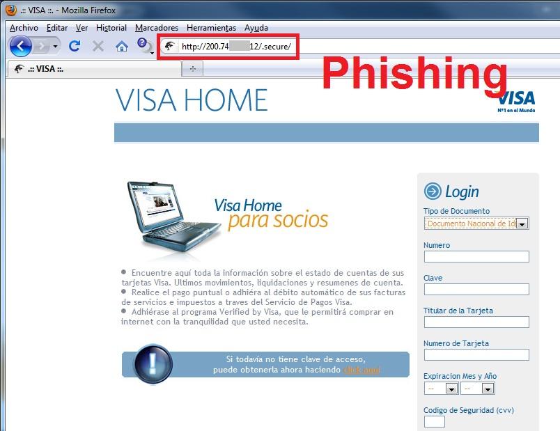 Página falsa de Visa Argentina