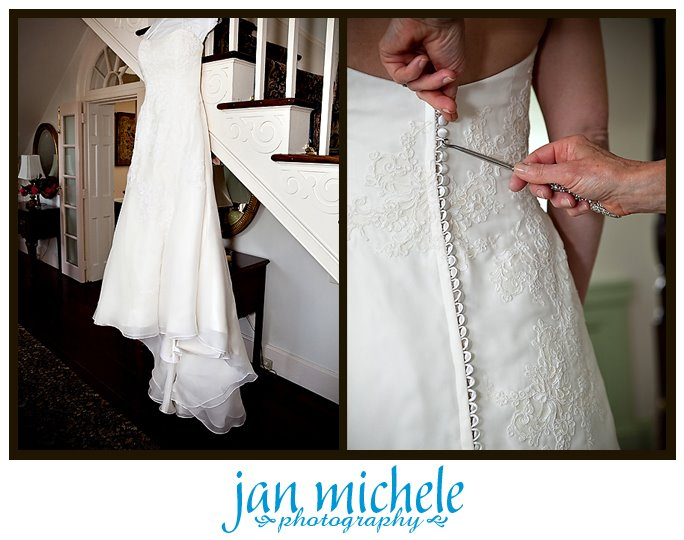 buttoning up a beautiful wedding dress at Mt. Airy Mansion