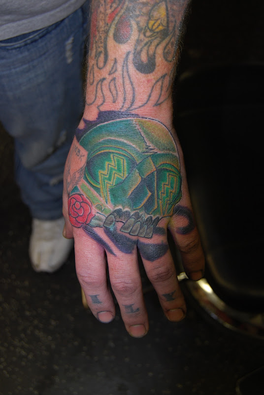 chris brown hand tattoo, cute hand tattoos, hand tattoos for men, side  title=