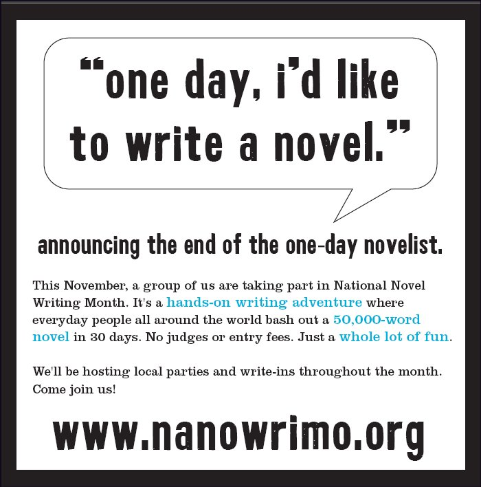 november novel writing month Join us in november as we celebrate national novel writing month bloomfield township public library has many great programs for teen and adult writers: getting.