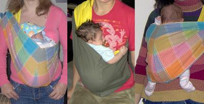 Νεογέννητα μωράκια σε όρθια στάση σε μάρσιππο pouch με τα πόδια μέσα ή έξω
