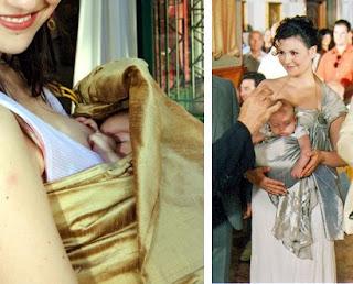 Η Ρέα κοιμάται αφού θήλασε στο sling αμέσως μετά τη βάφτισή της και ο Βασίλης κοιμάται την ώρα της κατήχησης!