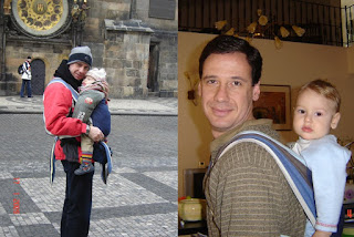 Ο μπαμπάς δείχνει στο γιο του μια διαφορετική πόλη, με την άνεση που προσφέρει ένας μάρσιππος αγκαλιάς.