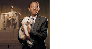 photo of Barack Obama holding the dog Baby