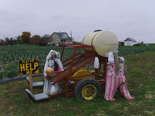 scarecrows and machinery