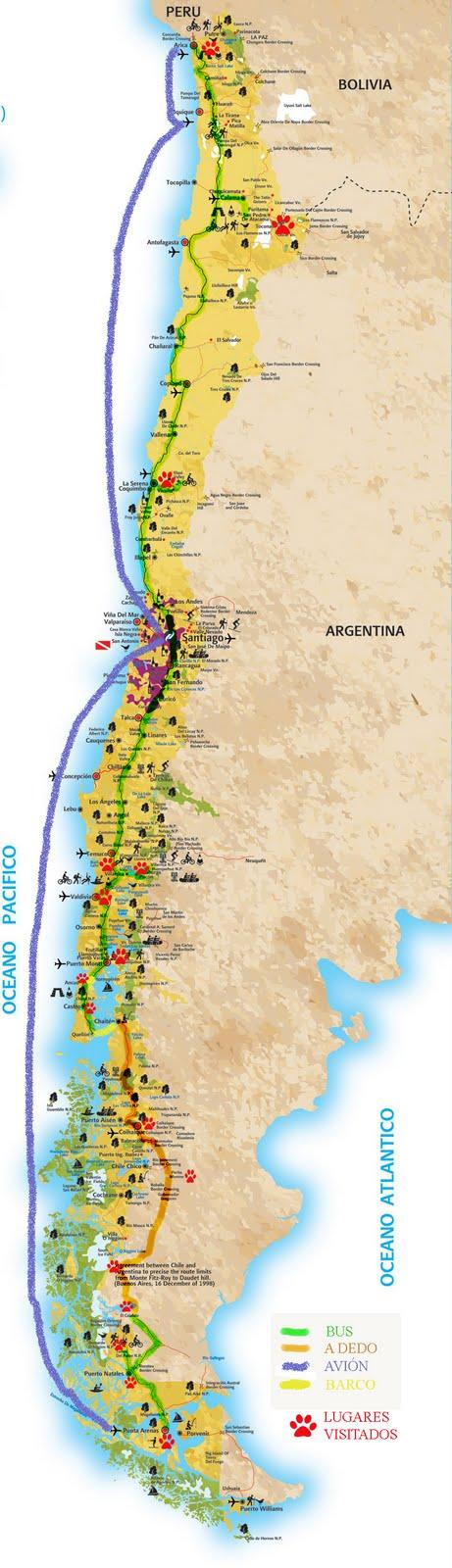 Mapa de Chile - Carte du Chili
