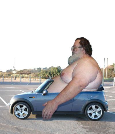 fat guy in car