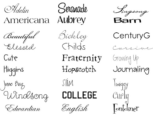 Font Choices for custom orders