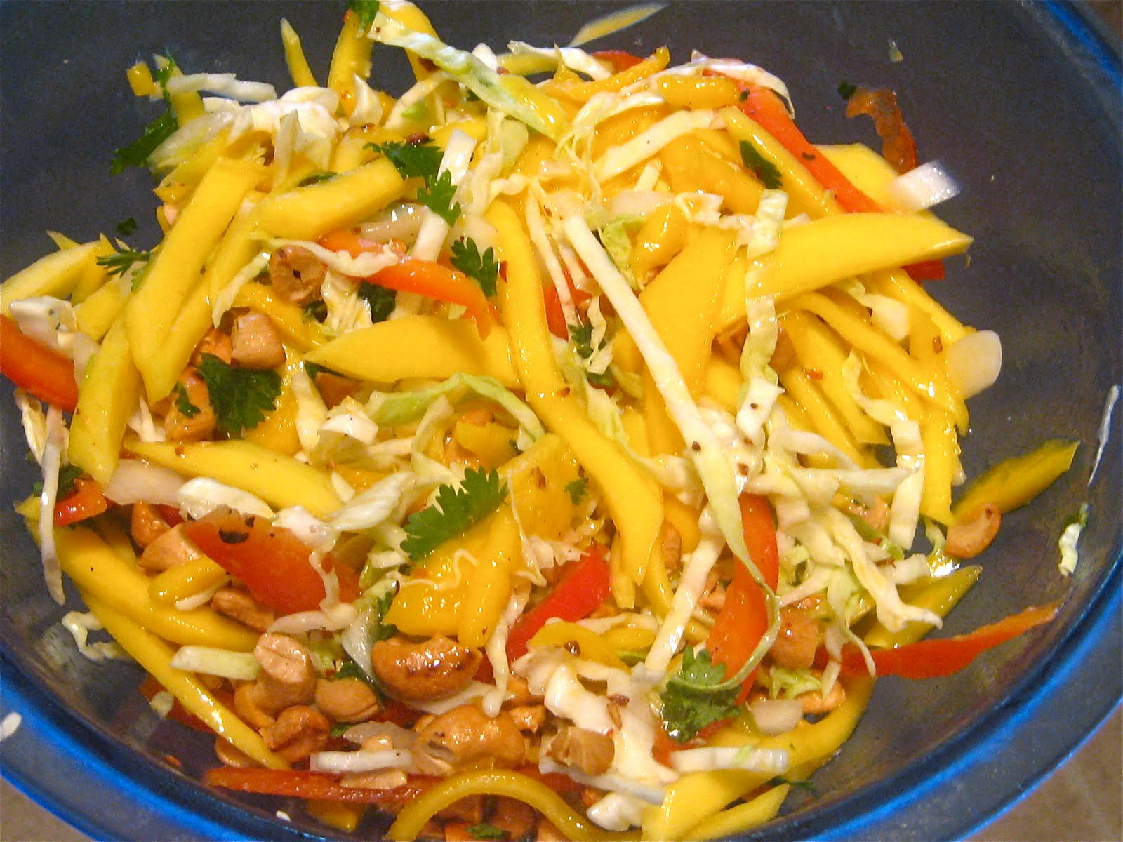 Mangoes & Lemons: Mango Slaw with Cashews and Mint (or Cilantro)