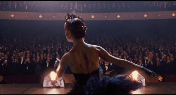 mila kunis back tattoo in black swan. lack swan movie tattoo.