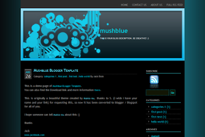 mushblue blogger template