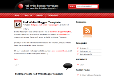 red white 2.0 blogger template