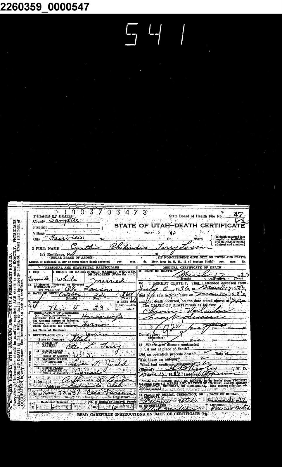 Ole Lasson Family Utah Death Certificate Cynthia Phylinda Terry Lasson