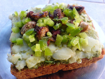 Mushroom, Potato and Pepper Open Sandwich
