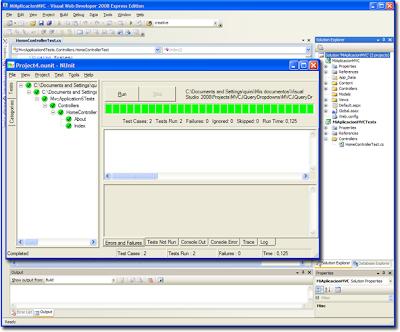WDExpress 2008 y NUnit en ejecución