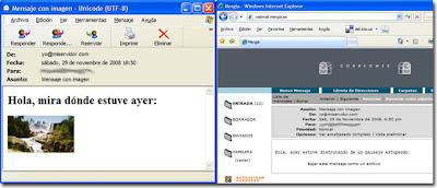 El mismo mensaje visto desde dos agentes de usuario distintos. Pulsa para ampliar.