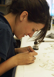 Carrie labeling glass sherds