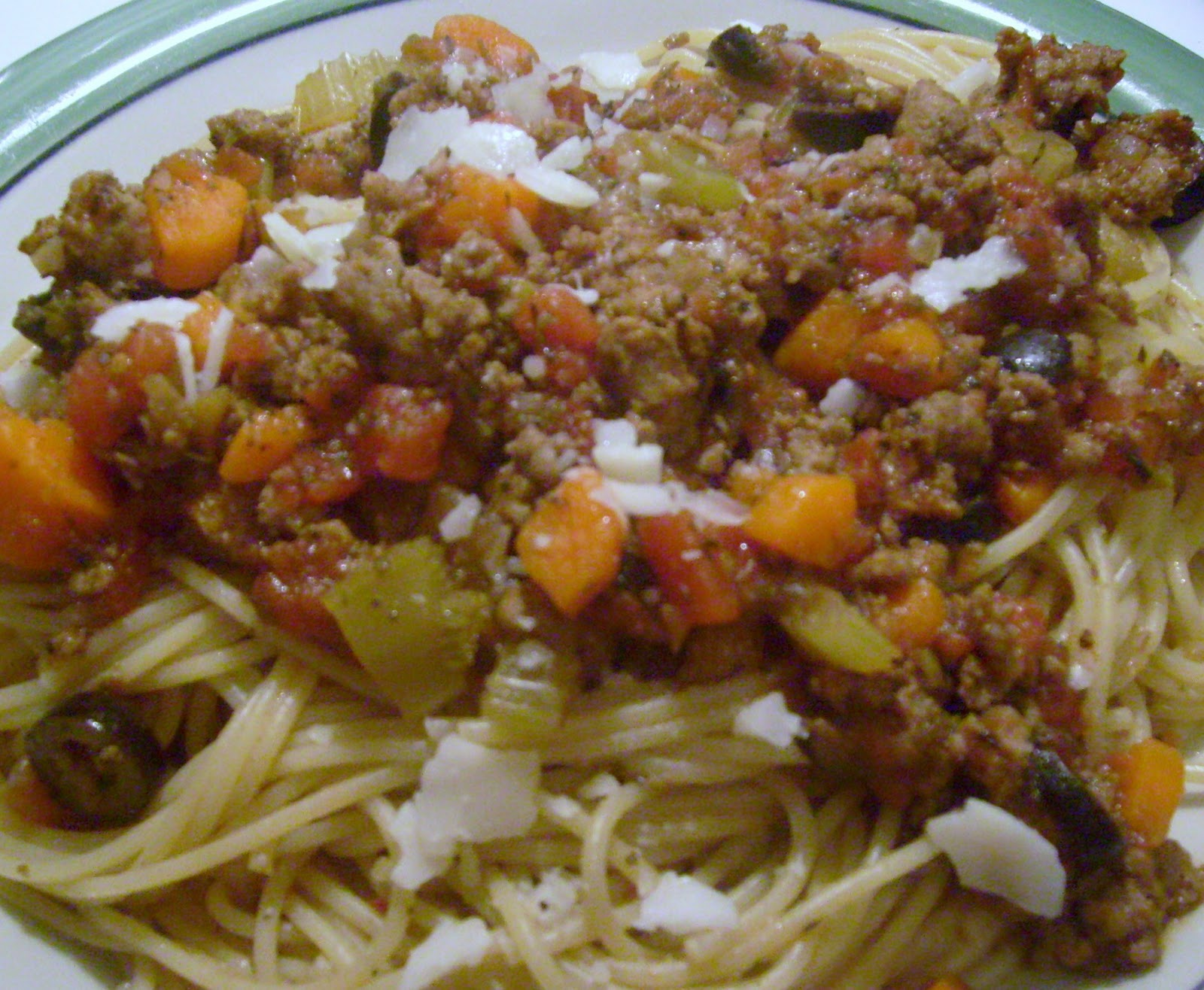 Spaghetti with Turkey Sausage, Olives, and Tomato Sauce