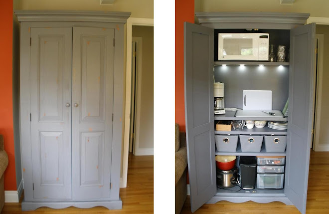 armoire kitchenette with microwave