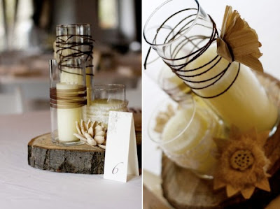 Fall Wedding Centerpieces Pictures on Rustic Candle Centerpieces At Once Wed Perfect For A Fall Wedding