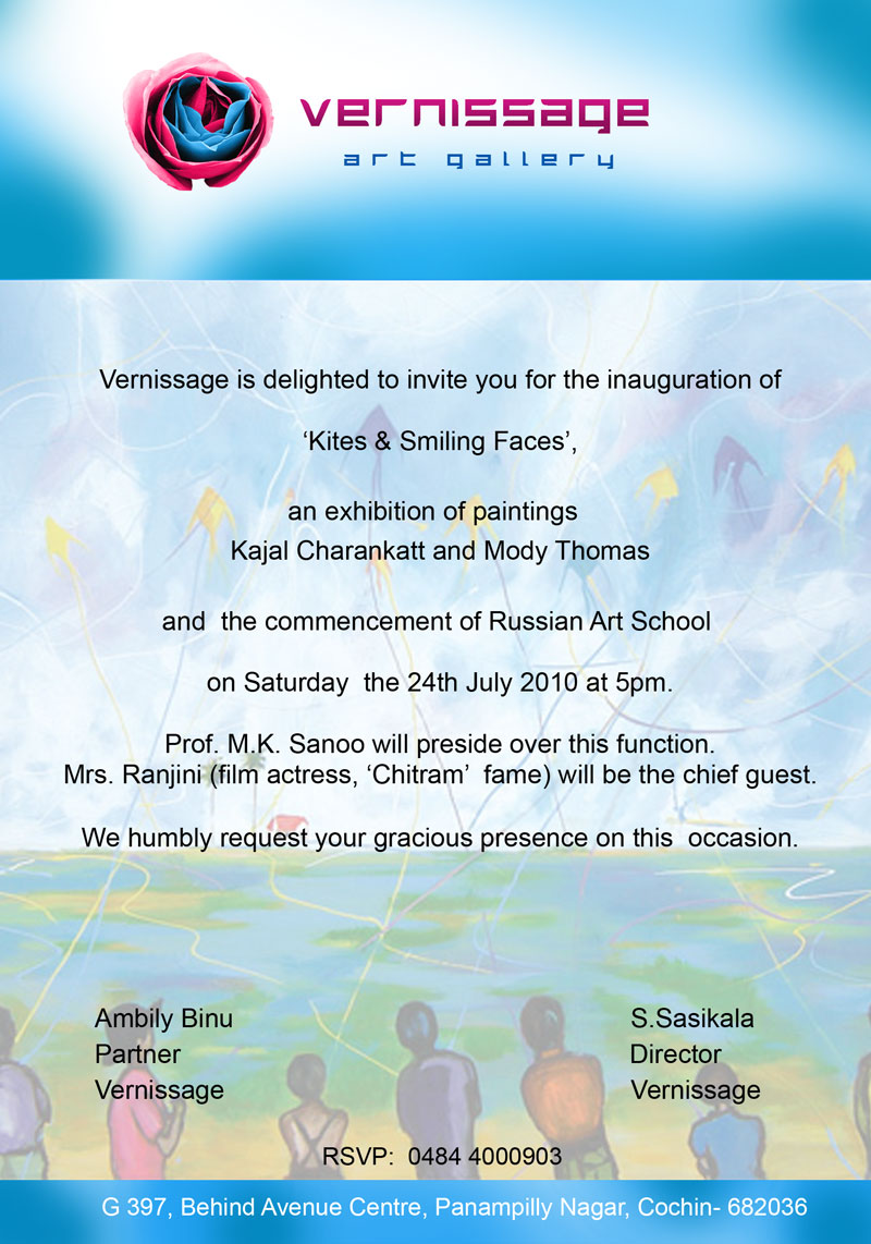 Vernissage july 2010 the invitation for kites and smiling faces an exhibition of paintings by kajal charankatt and mody thomas stopboris Choice Image
