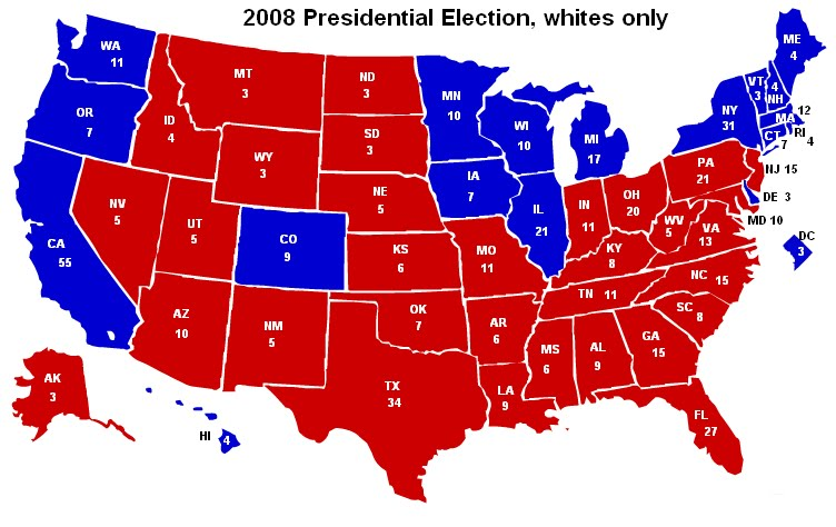 The Audacious Epigone Presidential Election Electoral Maps - 2009 us election results map