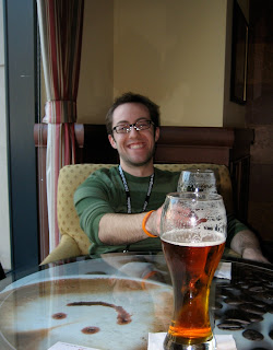 Brad Taylor with two glasses of beer