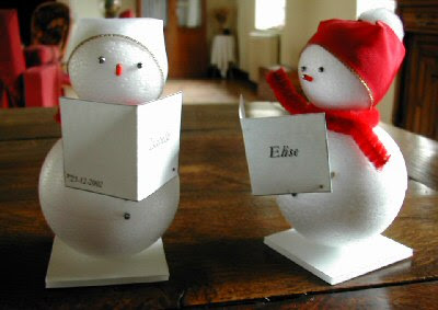 Claverie cruising christmas dinner prep place card holders caroling snowmen place card holders will serenade your guests with delight 2 styrofoam balls with some pins and ribbon and youre practically done solutioingenieria Images
