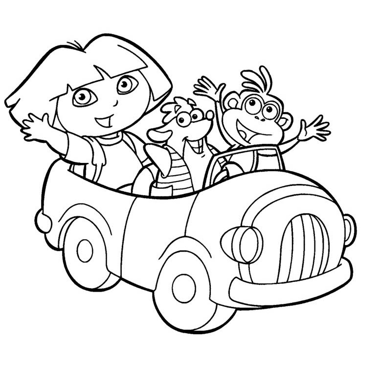 Dora coloring pages for kids picture 2 title=