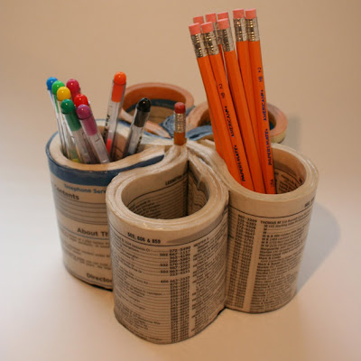 The green elephant recycle ideas pen organiser from phone book