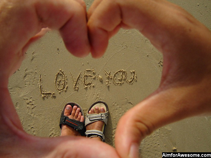 stock photo : I love you sign on a sand - tropical beach - vacation