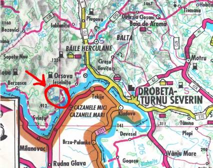 Harta jud.Mehedinti-comuna Dubova