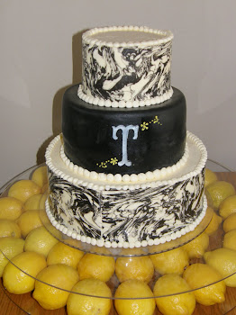 3-tier round marbled chocolate and fondant