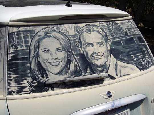 Kotoran Di Kaca Mobil Menjadi Lukisan