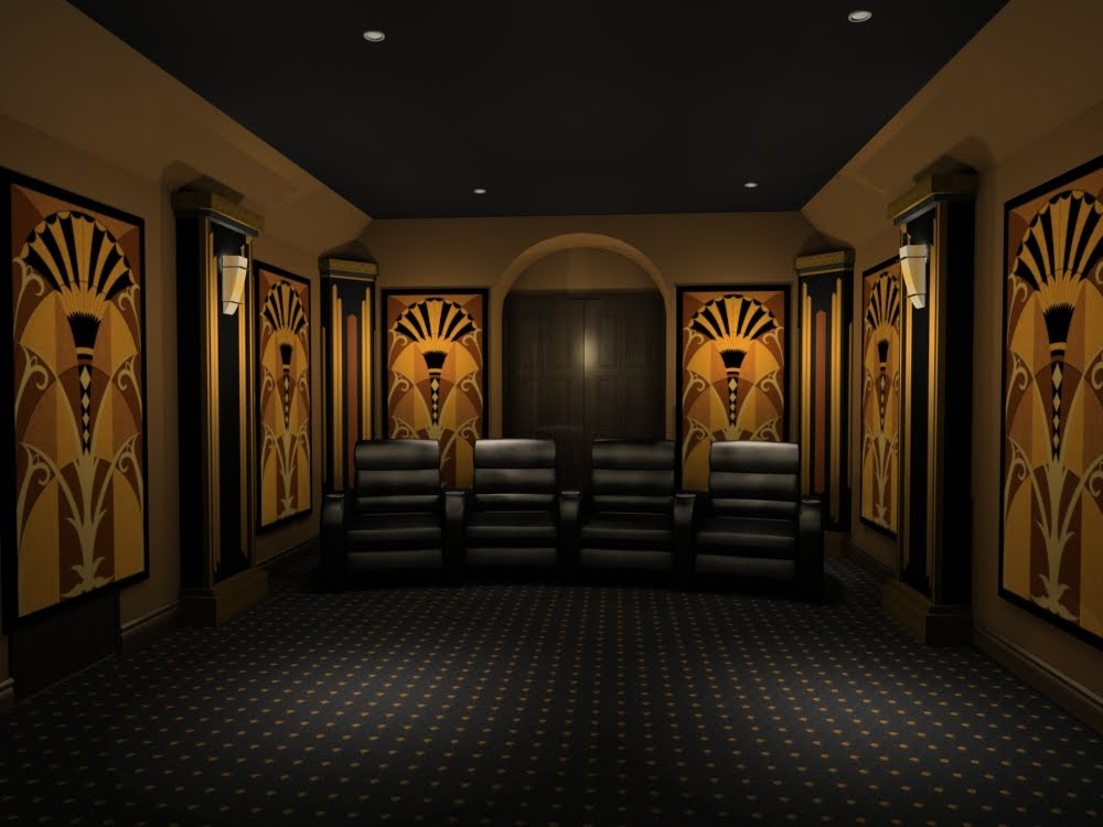Home theater design and beyond by 3 d squared inc art deco home theater design Home theater architecture