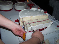 The business of weddings how to cut a wedding cake the easy part just begin cutting the 2 strip into 1 pieces junglespirit Gallery