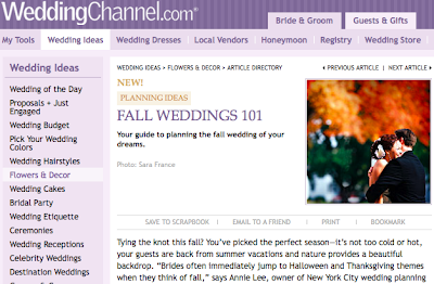 WeddingChannel article: Fall Weddings 101….