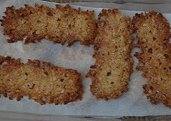 My idea of a modern, flavoursome tuile-type ANZAC biscuit