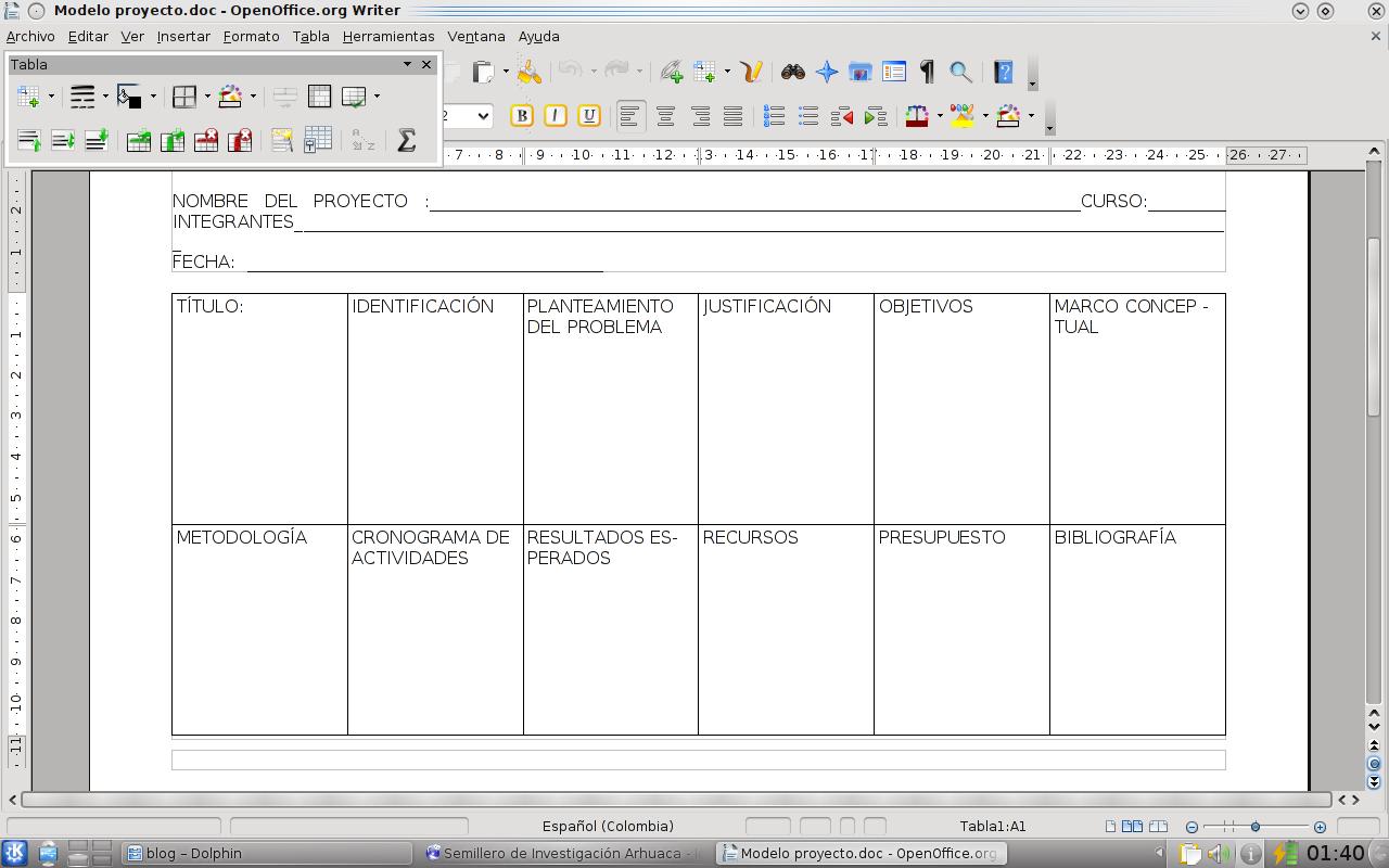 formatos para proyectos: