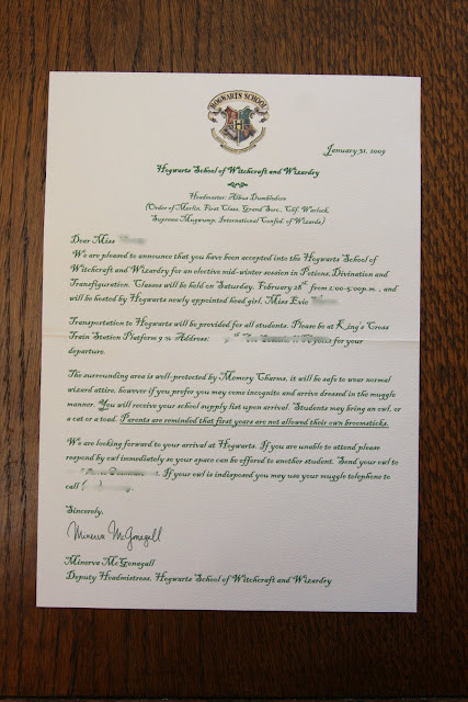 My harry potter party the invitation in doing research i saw frequently that a hogwarts acceptance letter was used as the invitation it seemed like the obvious choice since i could create it solutioingenieria Image collections