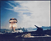 Frenchman Flat, Nevada - Atomic Cannon Test - first atomic artillery shell fired from the Army's new 280-mm artillery gun.Photo: Military.com