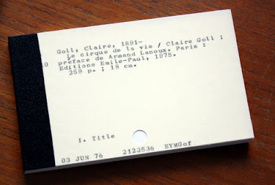 Chicalookate recycled card catalog card notepad: The Circus of Life