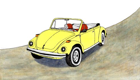 1978 lemon yellow Volkswagen beetle convertible