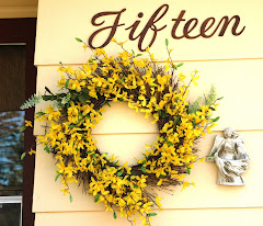 Forsythia wreath, side front