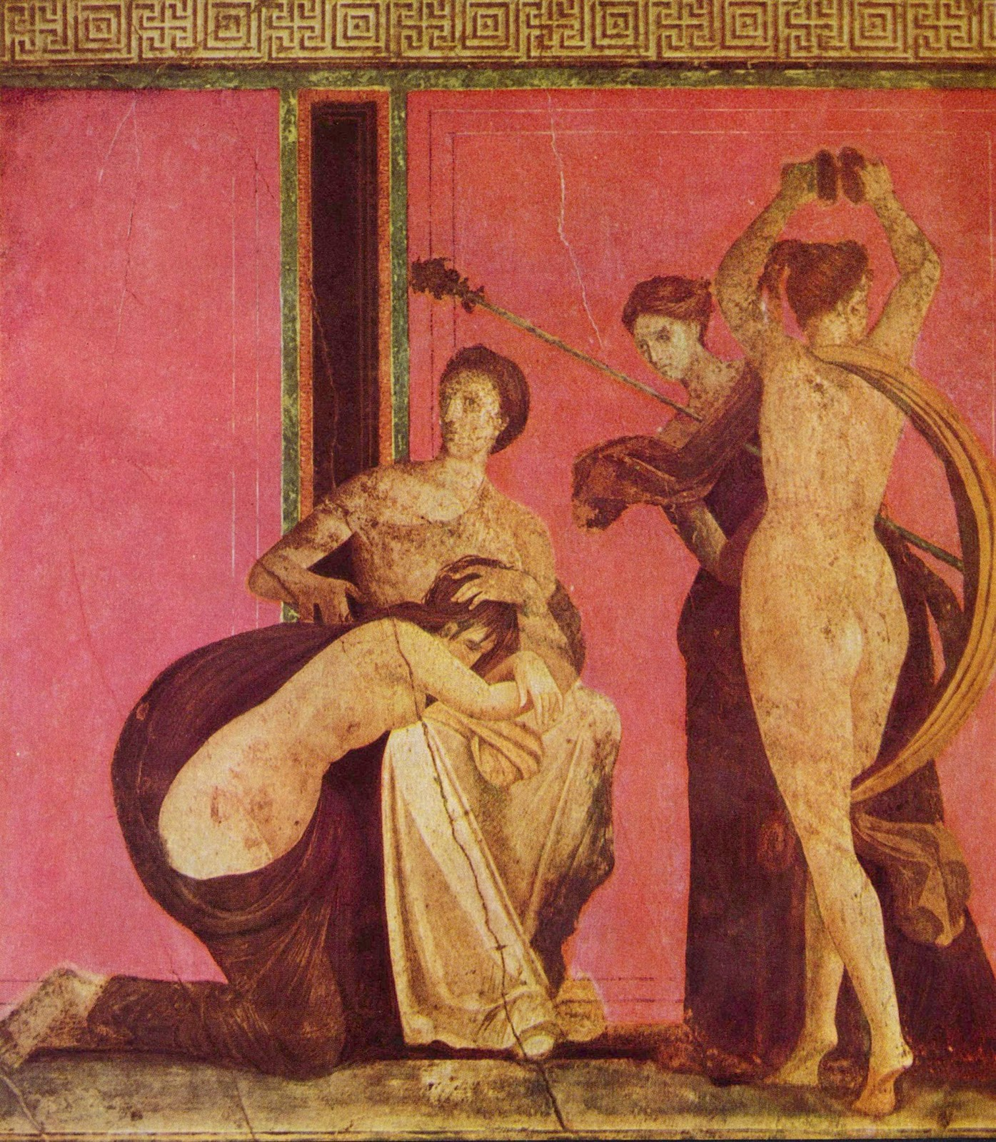 Tropical storm villa of mysteries in pompeii ancient rome in this we find that the girl is leaning before the herm a priestess stands with a staff in hand and a winged creature raises a whip to lash the girl biocorpaavc