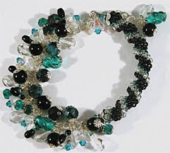 Black and Teal Twist - Chrysocolla, Onyx, Sterling Silver Bracelet