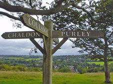 signpost atop Farthing Downs