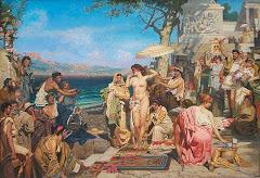 Friné en las fiestas de Poseidón